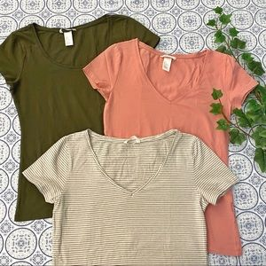 💐3 H&M basic tees, spring colors
